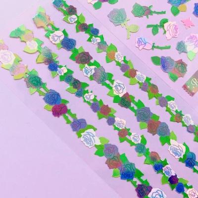영롱한 장미덩굴 blue 칼선 스티커