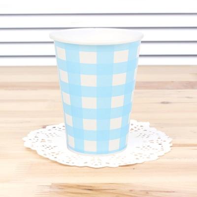 체크 종이컵-블루(6개입)