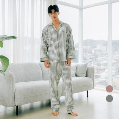 [쿠비카]올록볼록 워싱면  체크 긴소매 남성잠옷 M164