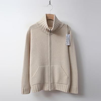 Maille Cashmere Wool Turtle Zip-Up Cardigan