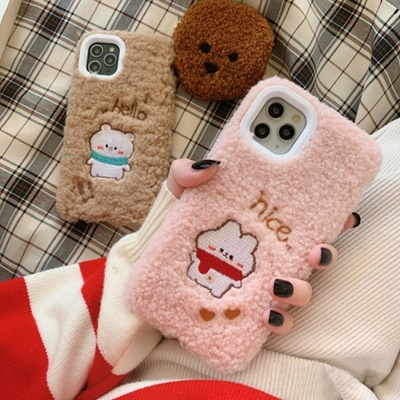 아이폰11 PRO MAX XR XS 8 7 커플 곰토끼 양털 케이스