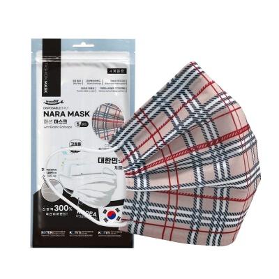 NARA 국산 3중 필터 패션마스크 5매입 (브라운체크)