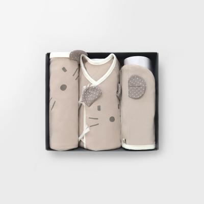 [메르베] 베이지마우스 출산선물(저고리+속싸개+모자)