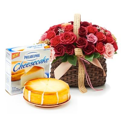 필라델피아 치즈케익 플레인(794g)+비누꽃 와인로즈바구니