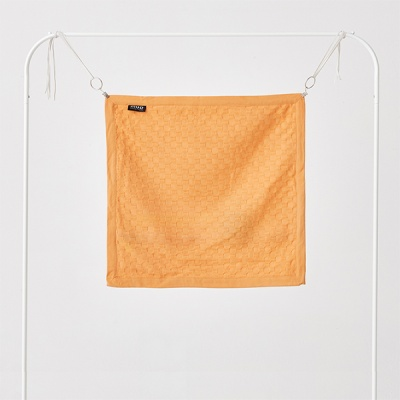 허니콤 플랜지 엣지 쿠션커버 블레이징 오렌지 50x50