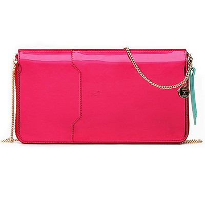 Thomas Glittery Leather Zip Organizer With Chain_Pink