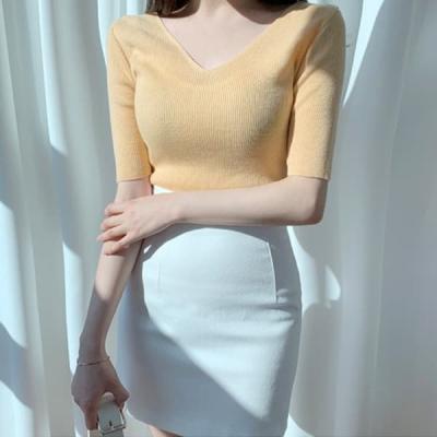 여성 가을 브이넥 라운드 니트 티 스웨터 캐시미어 썬