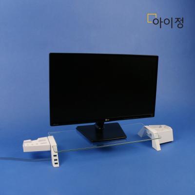 스마트독브릿지 USB모니터받침대S324 투명유리/화이트