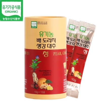 [유기가공인증] 배,도라지,생강,대추청 (15개입)x3통