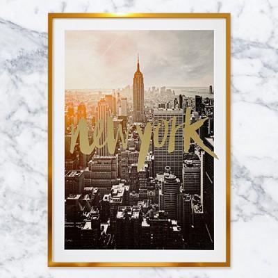 New york 골드텍스트 포스터