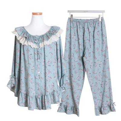 [쿠비카]프릴장식 모달코튼 투피스 여성잠옷 W497