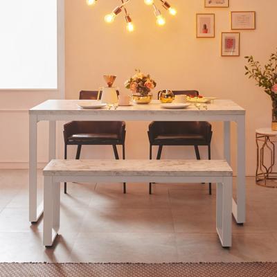 스틸마블 4인용 식탁테이블 1400x600+벤치의자세트