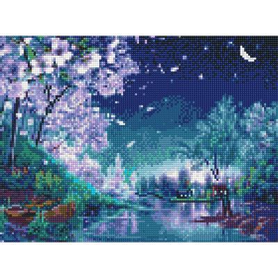 아이엠미니 DIY 보석십자수 30x40_벚꽃 날리는 호숫가