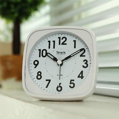 라운드 사각 알람 탁상시계(화이트)