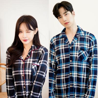 메리핀 피치기모 체크 잠옷 커플 상하세트 블루+블랙