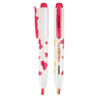 [모리스] 노크식더블칼라형광펜(노랑+분홍) 307224
