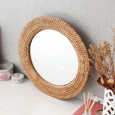 라탄 디자인 거울 - 원형 3호