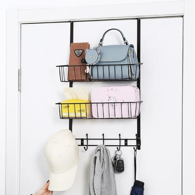 욕실 소품 주방 도어 메탈 문걸이 수납 선반 (2단)