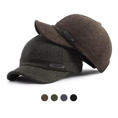 [디꾸보]헤링본 레더 패치 피넛캡 모자 HN583