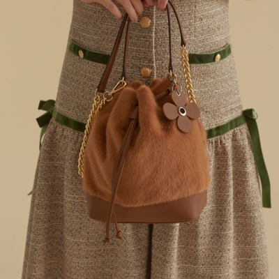 fake fur leather bag_brown