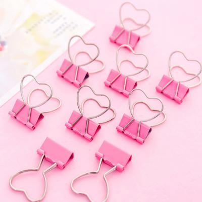 핑크 하트 철제 집게 클립 미니 더블 페이퍼 바인더