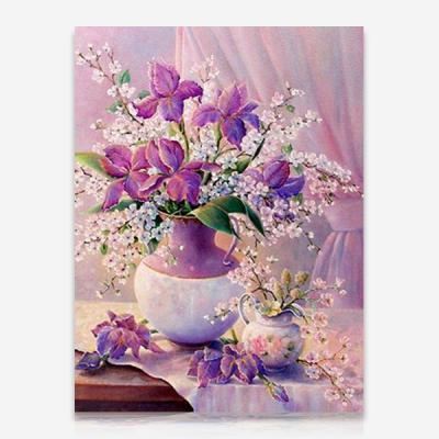 보라색 꽃병 DIY 보석십자수 십자수 비즈세트