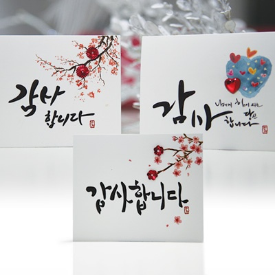 카드/축하카드/감사카드/연하장/미니카드 감성캘리감사카드 FT5046 (12종 한세트)
