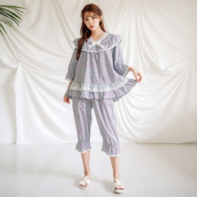 [쿠비카]V넥 레이스 7부 소매 투피스 여성잠옷 W555