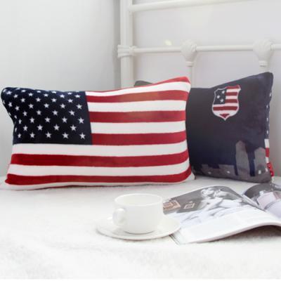 미국 성조기 플란넬 직사각 양면 쿠션 (솜포함)