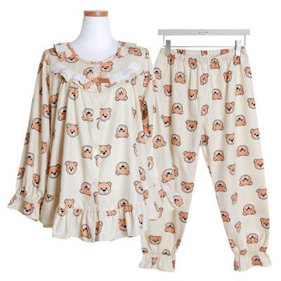 [쿠비카]순면 긴소매라운드 투피스 여성잠옷 W412