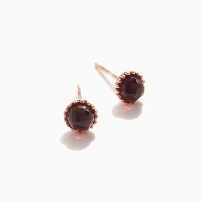 제이로렌 0M01802 1월탄생석 가넷 로즈골드 귀걸이