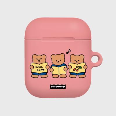 Music song bear-pink(Hard air pods)