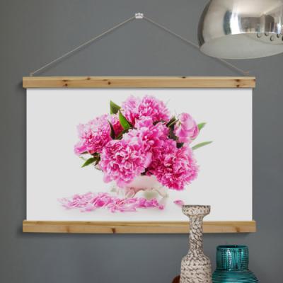 ps443-우드스크롤_90CmX60Cm-풍수가득분홍작약꽃
