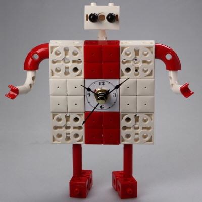 로봇1 블럭시계 (170369) 블럭레고형시계,조립시계