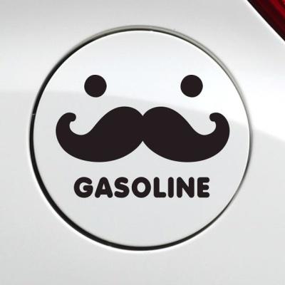 수염 가솔린 자동차 주유구스티커-블랙