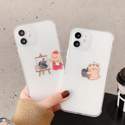 아이폰12 미니 11 pro max 사과 곰돌이 투명 폰케이스