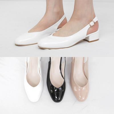 [애슬릿]에나멜 스퀘어 여성 슬링백 플랫 3cm