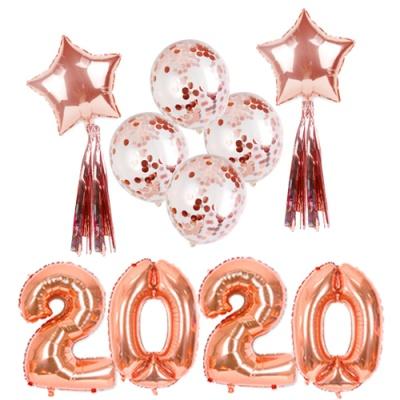 [인디고샵] 2020 로즈골드 대형풍선 신년 파티세트
