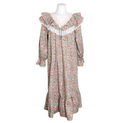 [쿠비카]V넥 레이스 이중프릴 원피스 여성잠옷 W697