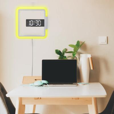 벽걸이 시계 무드등 LED 무소음 디지털 전자 조명시계