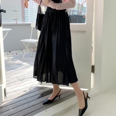 여성 여자 롱 스커트 치마 데일리 샤틴플리츠 밴딩