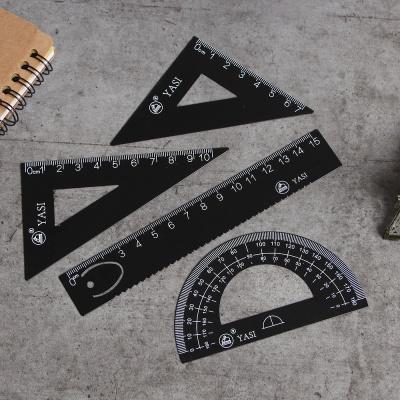 스틸 자 각도기 삼각자 4P 문구 준비물 종합자
