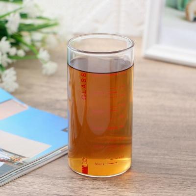 [로하티]눈금패턴 내열 유리컵(350ml) (레드)/ 주스잔