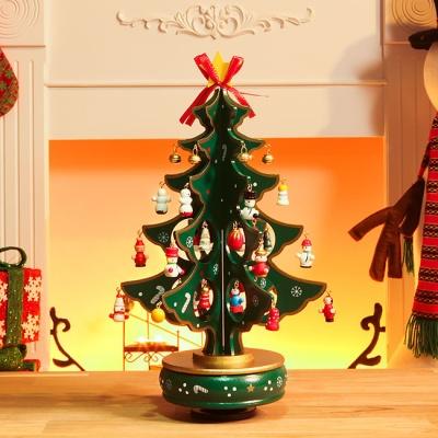 초록 십자형 오르골 크리스마스 트리(33cm)