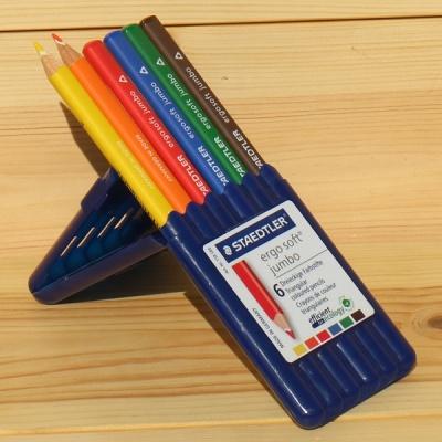 6색 점보 삼각색연필..스테들러 Ergo soft 158 SB6
