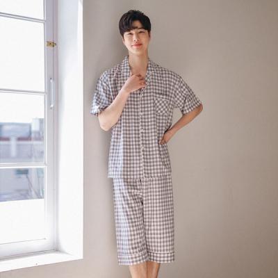 [쿠비카]그레이 고방체크 순면 반팔 남성잠옷 M091