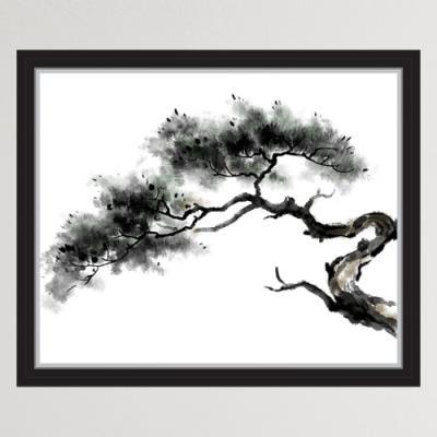 iy900-수묵화소나무_창문그림액자(중형)