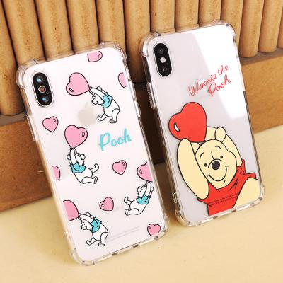(방탄케이스) 디즈니 곰돌이푸 하트 휴대폰케이스
