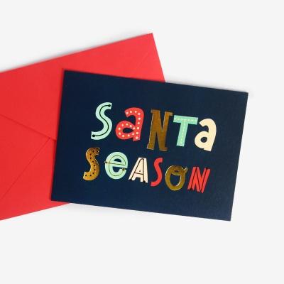 [인디고샵] [금박] 산타시즌 크리스마스 카드 set
