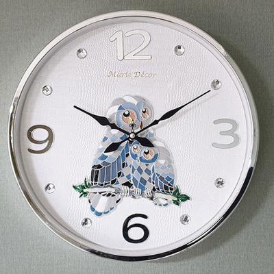 예쁜 인테리어 Wall Clock 컬러링 부엉이 실버